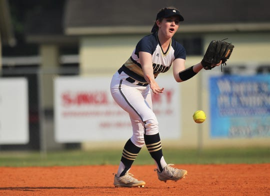 Aucilla Christian second baseman Esther Fulford reacts after dropping a pop up as NFC beat Aucilla Christian 15-5 on Tuesday, April 16, 2019.