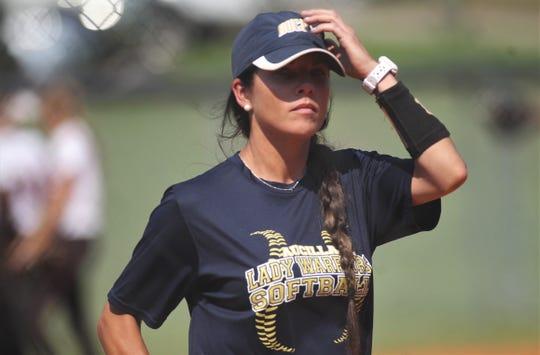 Aucilla Christian softball coach Becky Brandies as NFC beat Aucilla Christian 15-5 on Tuesday, April 16, 2019.