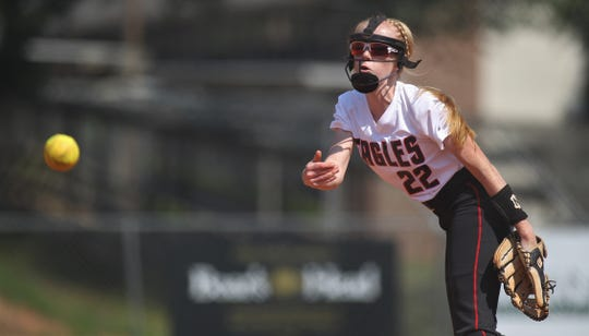 NFC eighth-grader Maddie Mayo pitches as NFC beat Aucilla Christian 15-5 on Tuesday, April 16, 2019.