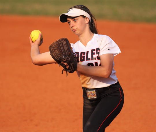 NFC second baseman Hayley Turner throws to first for an out as NFC beat Aucilla Christian 15-5 on Tuesday, April 16, 2019.
