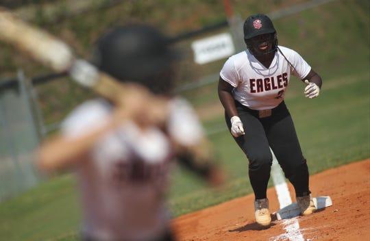 NFC sophomore Eva Holmes prepares to jump off third base as NFC beat Aucilla Christian 15-5 on Tuesday, April 16, 2019.