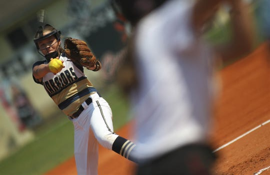 Aucilla Christian seventh-grader Emma Vickers pitches as NFC beat Aucilla Christian 15-5 on Tuesday, April 16, 2019.