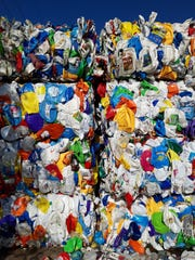 Laundry detergent bottles are processed and baled at St. Lucie County Solid Waste and Recycling.