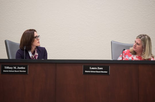 Indian River County School Board member Tiffany Justice (left) and School Board Chair Laura Zorc have a direct exchange during a special meeting at district offices Tuesday, April 16, 2019, to discuss Superintendent Mark Rendell's offer for a negotiated end to his employment.
