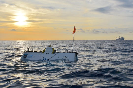 The deep sea exploration vessel Limiting Factor surfaces April 5 following Victor Vescovo's historic dive to the floor of the Java Deep, some 23,596 feet at the bottom of the Indian Ocean.