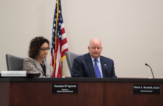 The School Board held a special discussion Wednesday to plan how to find a temporary replacement for Schools Superintendent Mark Rendell, shown here at an April 16 meeting to discuss his employment with the district.