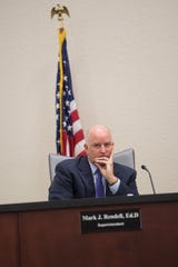 Indian River County Schools Superintendent Mark Rendell sits silently as School Board members attending a specially-called meeting Tuesday, April 16, 2019, discuss a letter from his attorney for a negotiated end to his employment.