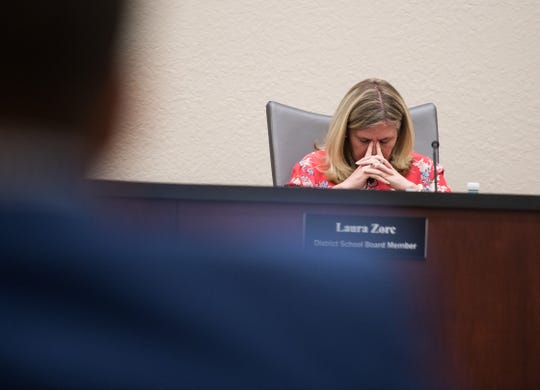 Indian River County School Board Chair Laura Zorc listens to fellow School Board members during a special meeting at district offices Tuesday, April 16, 2019.