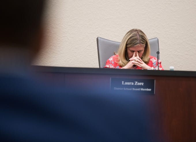 Indian River County School Board Chair Laura Zorc listens to fellow School Board members during a special meeting at district offices Tuesday, April 16, 2019, to discuss Superintendent Mark Rendell's offer for a negotiated end to his employment.