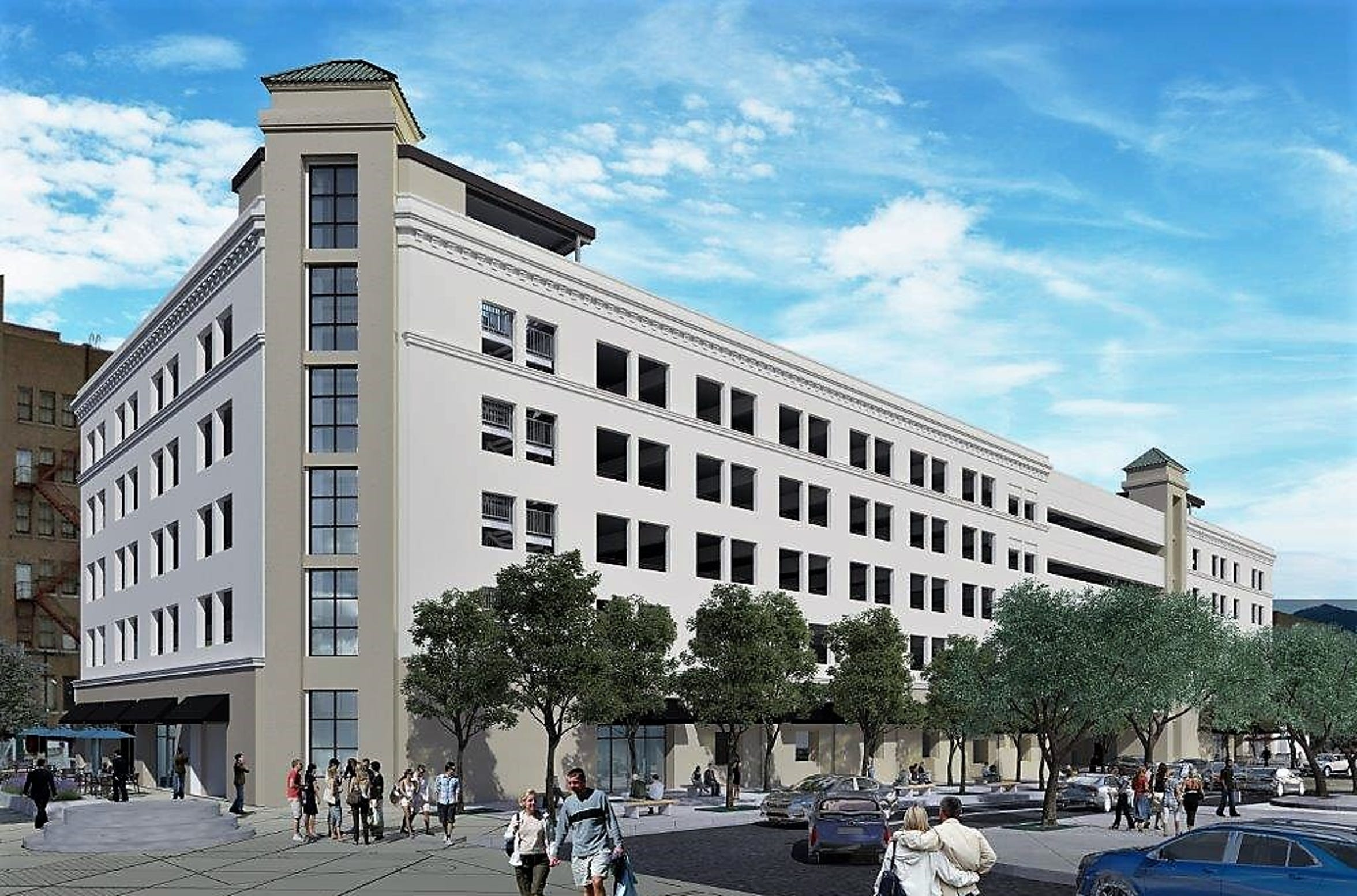 A rendering of the Plaza Hotel parking garage, now being built on two formerly vacant lots along South El Paso Street. The portion of the garage spanning San Antonio Avenue is the flat, windowless floors next to tower at far right of image.