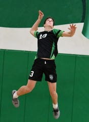Owen Birg, a 6-foot-7 sophomore, has become a force as a full-time opposite this season for the Thousand Oaks High volleyball team.