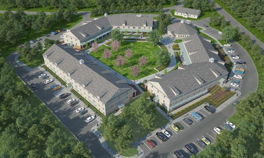 An aerial rendering of Vincent's Village, a 93-unit affordable senior housing complex to be constructed on Convent Road, Nanuet.