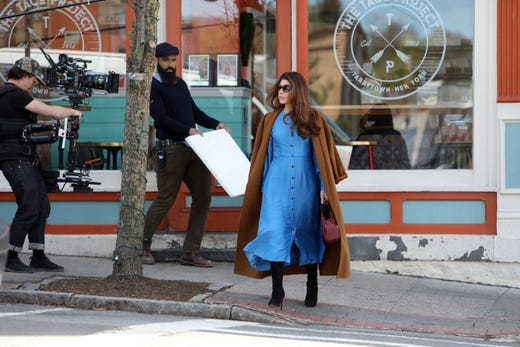 "Actress Marisa Tomei shoots a scene for ""Human Capital"" on Main Street in Tarrytown April 17, 2019. Liev Schreiber also stars in the film, which is an adaptation of Stephen Amidon's 2005 novel about families who collide as they chase the American dream."