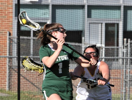 Yorktown's Ellie O'Donnell prepares to shoot as Lakeland-Panas's Cara O'Shea defends during April 17, 2019 game.