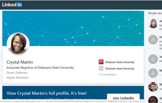 Crystal Martin's Linkedin page.