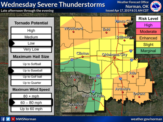 Severe thunderstorms are expected from late this afternoon through a few hours after midnight. Very large hail and damaging wind gusts are the primary hazards.