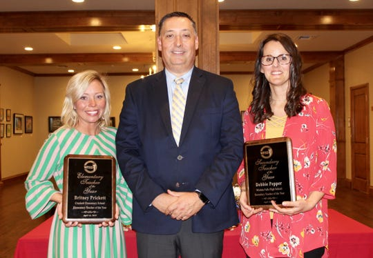 During the Wichita Falls Independent School District's annual Teacher of the Year banquet was held Tuesday night, Superintendent Mike Kuhrt named Britney Prickett, a fourth-grade English/Language Arts/Reading teacher at Crockett Elementary, the 2019 Elementary Teacher of the Year. He named Debbie Pepper, an ESL/English teacher at Wichita Falls High School, the 2019 Secondary Teacher of the Year. Prickett and  Pepper will now advance to the regional competition. Elementary Teacher of the Year finalists were Franklin Elementary's Tiffanny Lindsey and Southern Hills' Cheri West. Secondary finalists were Kirby's Leslie Callahan and the CEC's Amber West.