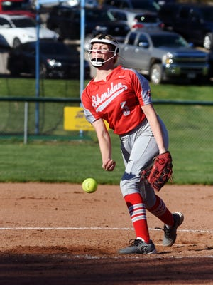 Sydney Campolo fires a pitch to the plate during the fourth inning during Sheridan's 6-1 win against Philo on Tuesday at the Philo Athletic Complex. Campolo struck out 13 as the Generals improved to 15-0.