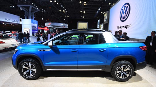 VW Tarok pickup concept on display at the New York International Auto Show.