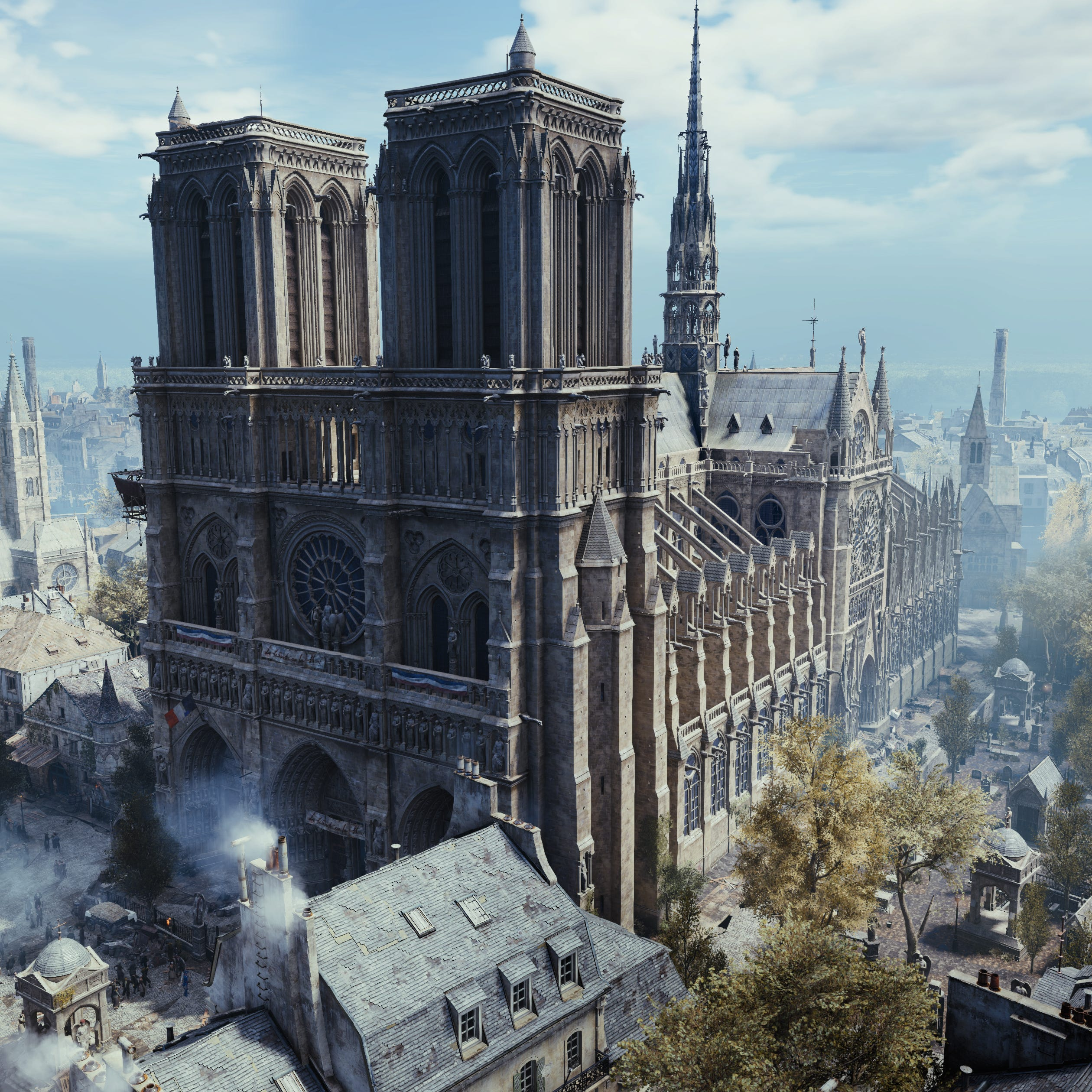 "The Notre Dame Cathedral as seen in the video game ""Assassin's Creed Unity."""