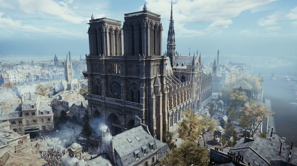 """The Notre Dame Cathedral as seen in the video game """"Assassin's Creed Unity."""""""