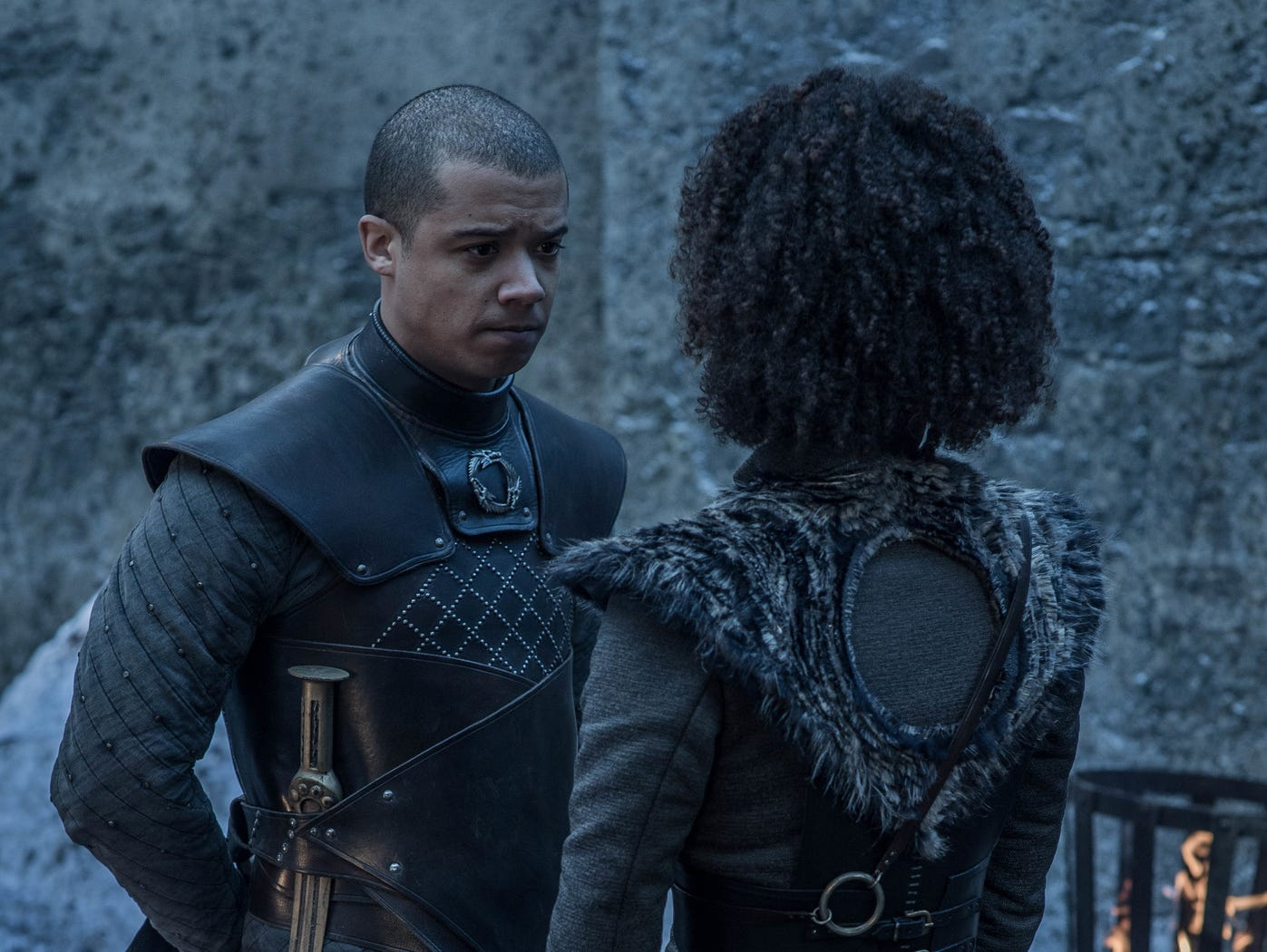 "Jacob Anderson as Grey Worm and Nathalie Emmanuel as Missandei on ""Game of Thrones."""