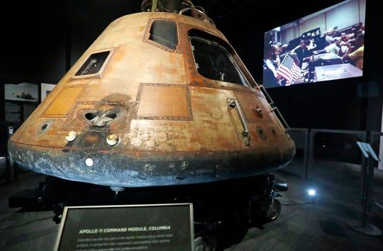 The NASA Apollo 11 command module Columbia in Seattle on April 11, 2019.