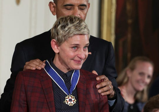 President Barack Obama presents the Presidential Medal of Freedom to comedian and talk show host Ellen DeGeneres during an East Room ceremony at the White House Nov. 22, 2016. (Photo: Alex Wong, Getty Images)