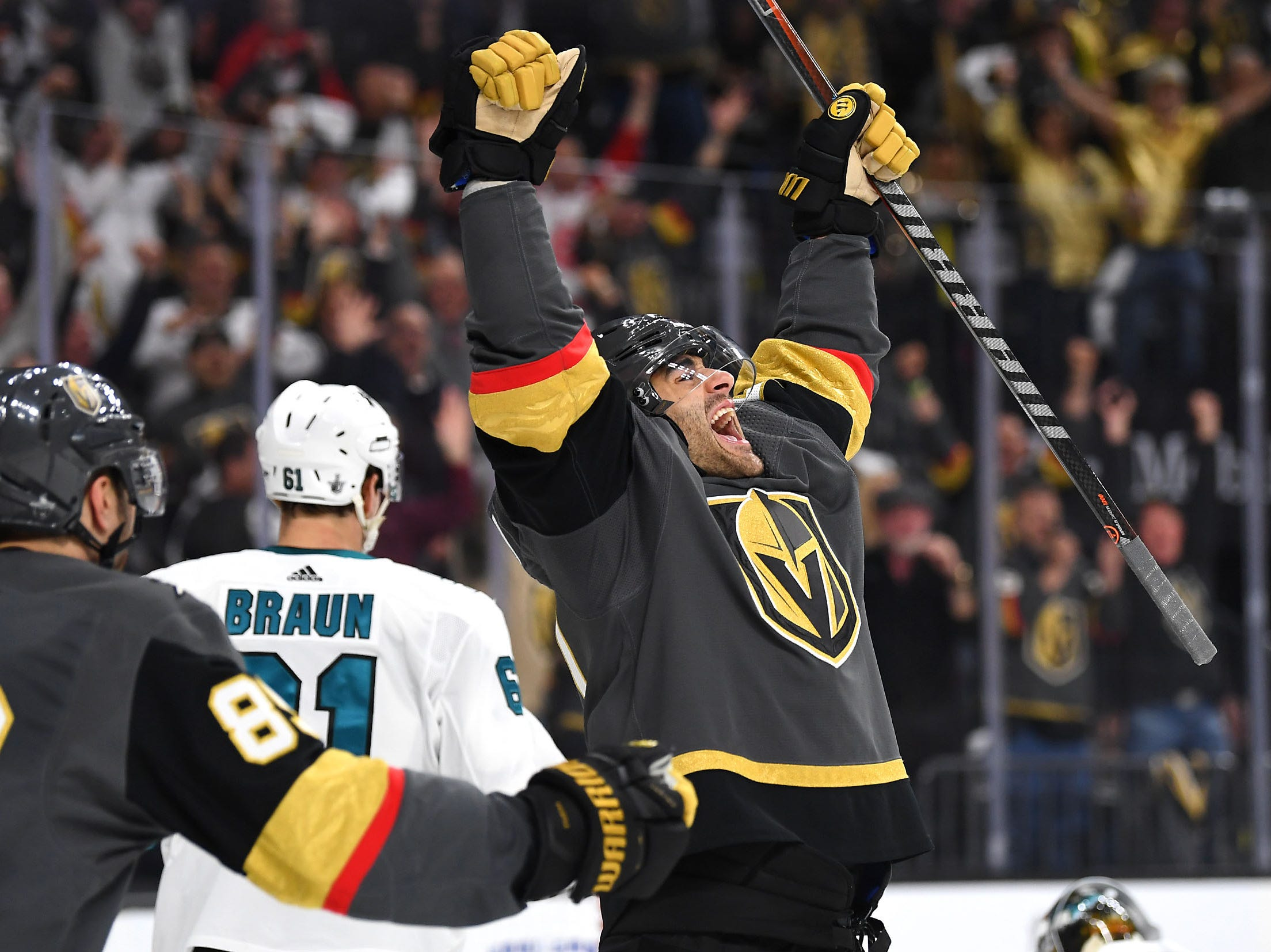 First round: Vegas Golden Knights forward Max Pacioretty celebrates after scoring a second-period goal against the San Jose Sharks in Game 4.