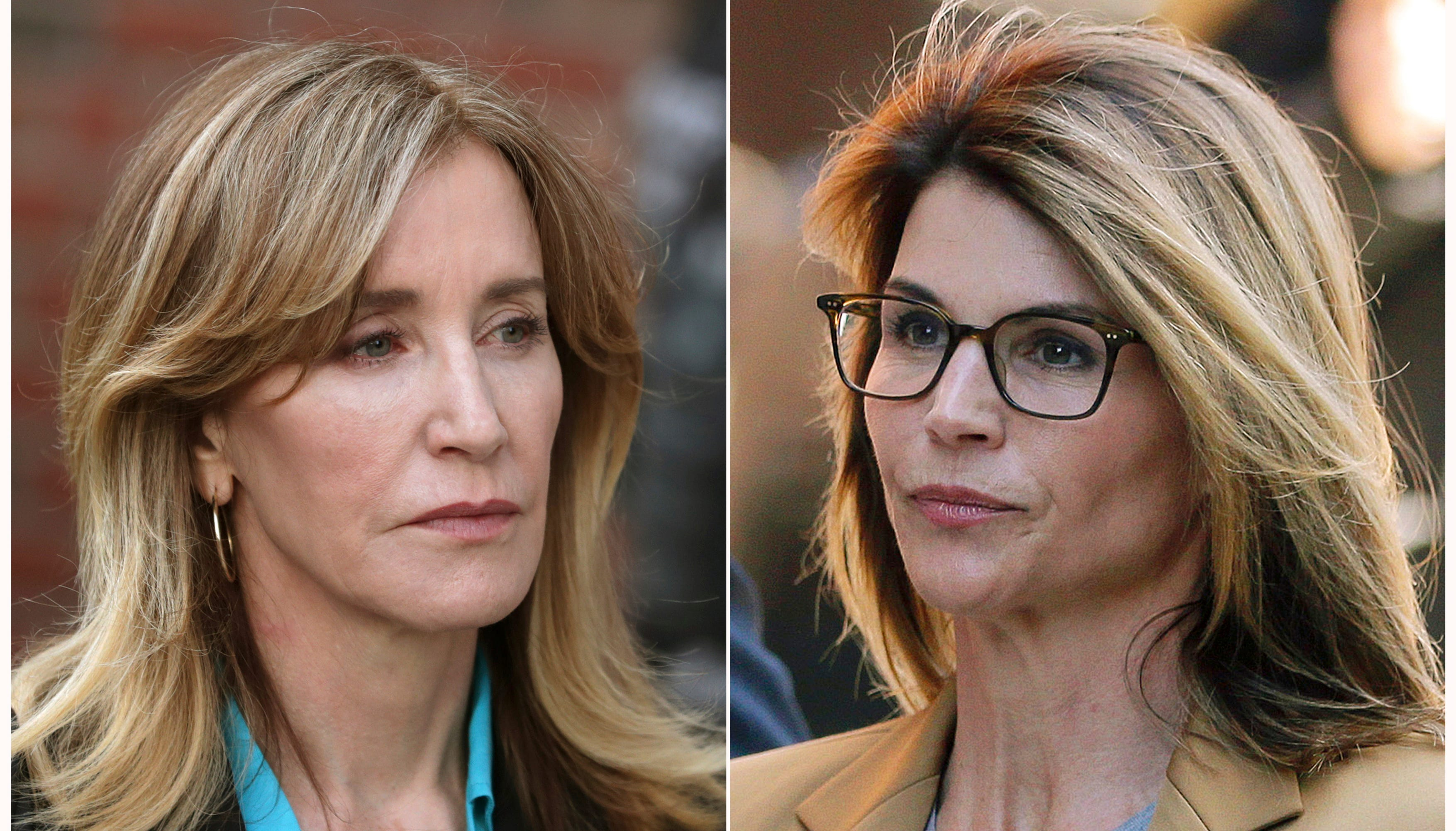 Felicity Huffman, left, and Lori Loughlin outside of federal court in Boston on April 3, where they faced charges in a nationwide college admissions bribery scandal.