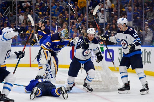 First round: Winnipeg Jets forward Kyle Connor celebrates after scoring the overtime winner in Game 4 against the St. Louis Blues. Jeff Curry, USA TODAY Sports