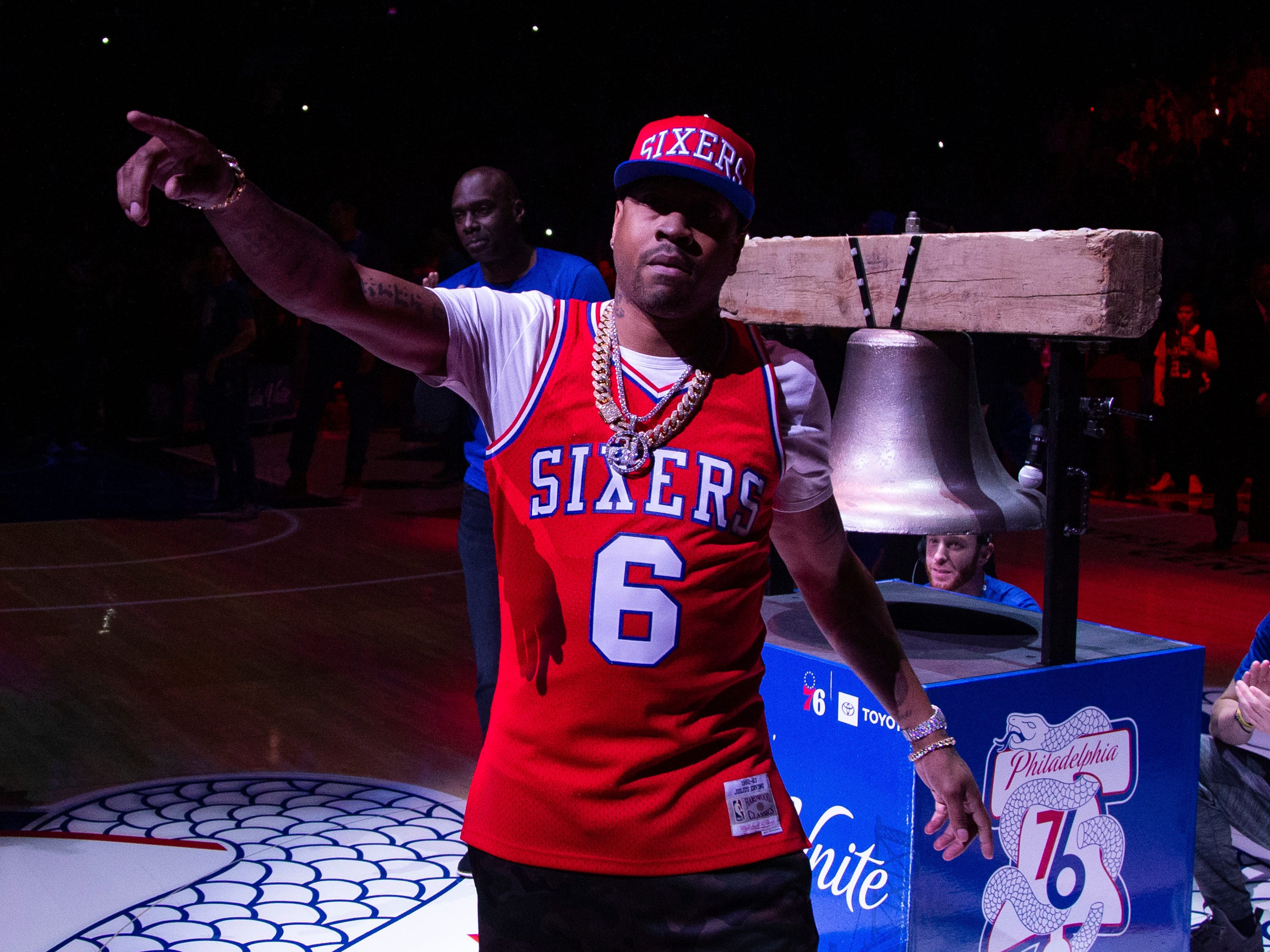 April 13: Former 76er Allen Iverson reacts prior to the second half of Game 1 against the Nets in Philadelphia.