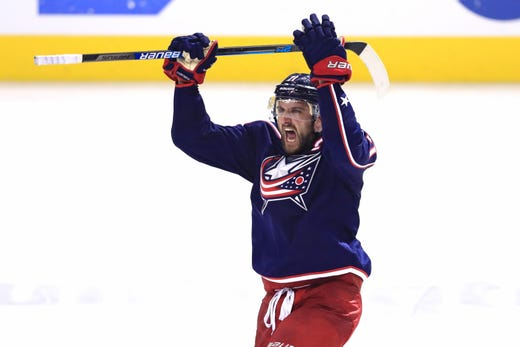 First round: Columbus Blue Jackets forward Nick Foligno celebrates the Game 4, series-clinching win vs. the Tampa Bay Lightning.