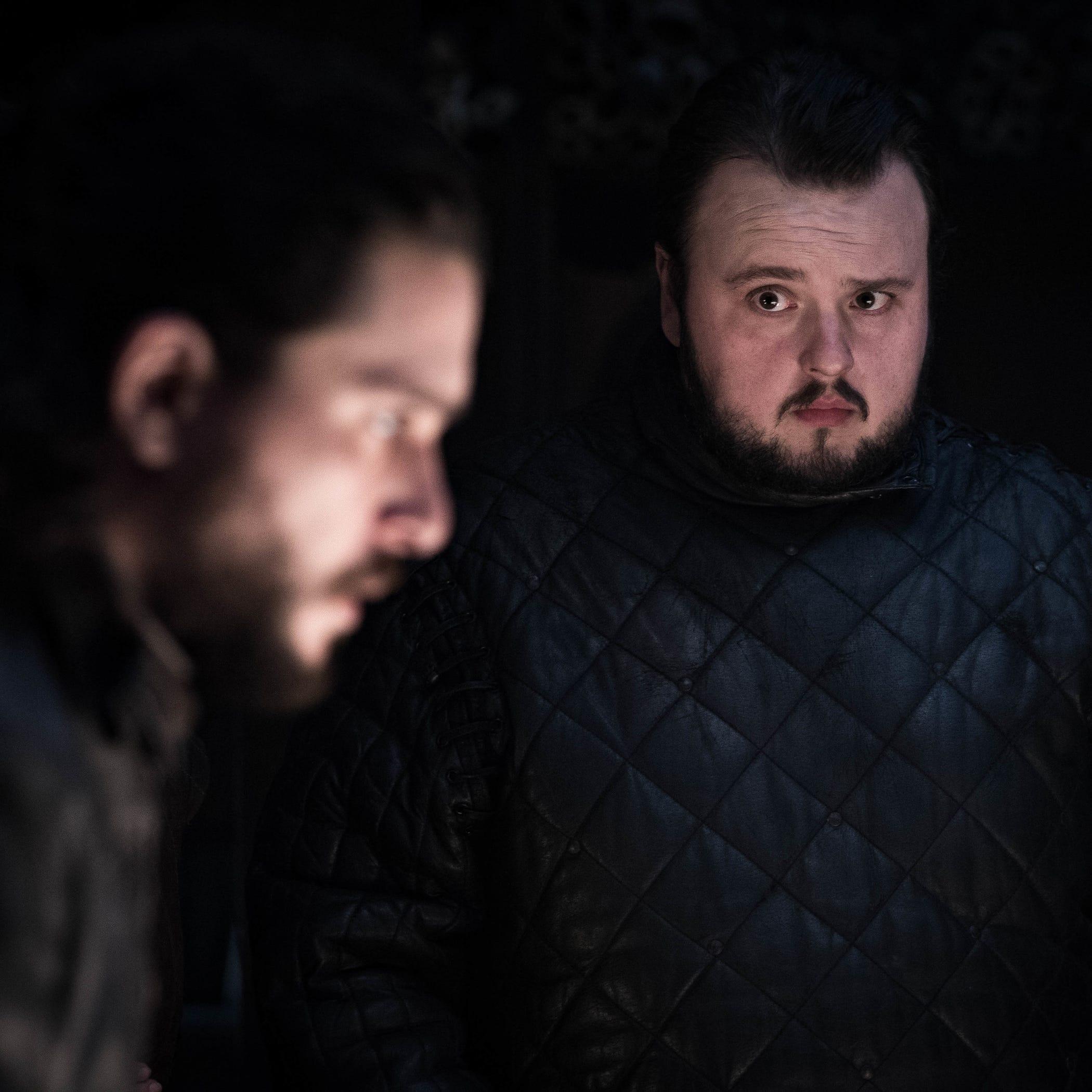 "Kit Harington as Jon Snow and John Bradley as Samwell Tarly on ""Game of Thrones."""