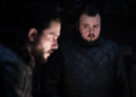 "Kit Harington as Jon Snow and John Bradley as Samwell Tarly on ""Game of Thrones."""