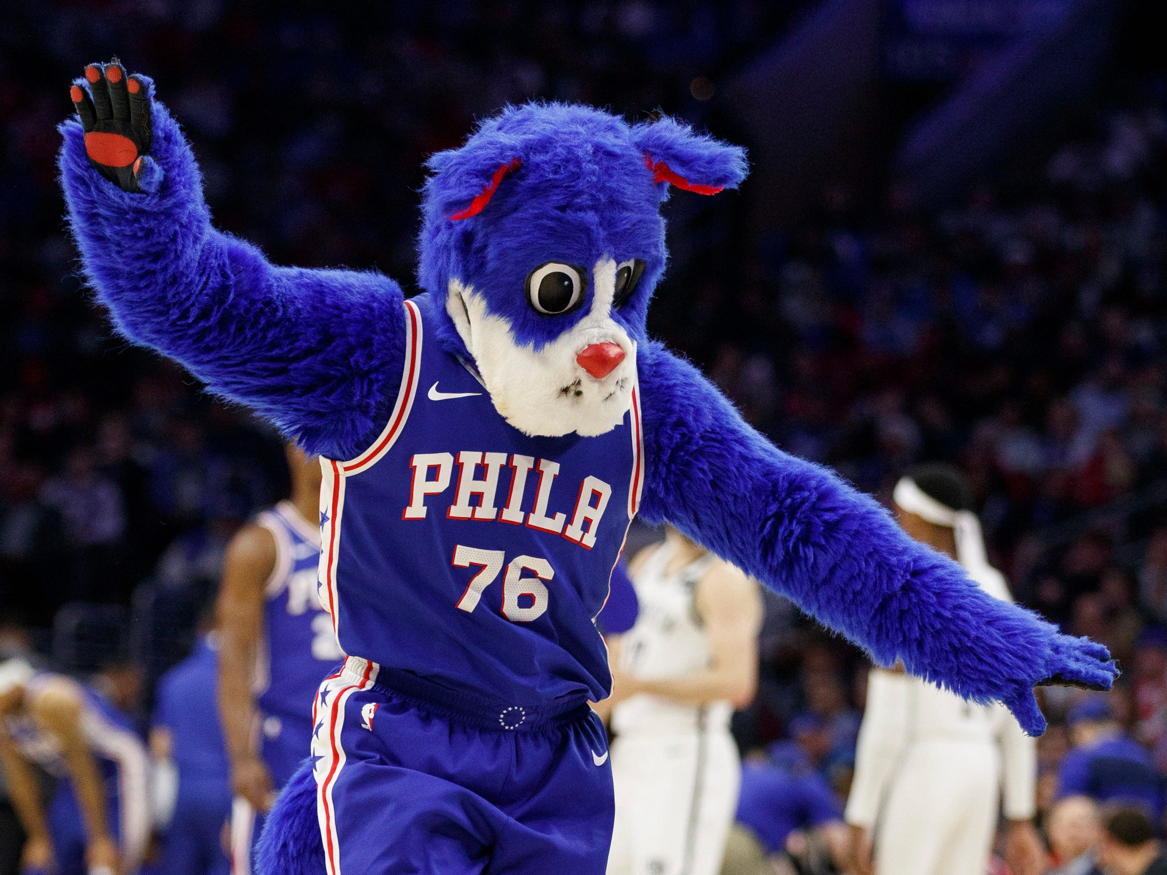 April 15: 76ers mascot Franklin in action during the second half of Game 2 against the Nets.
