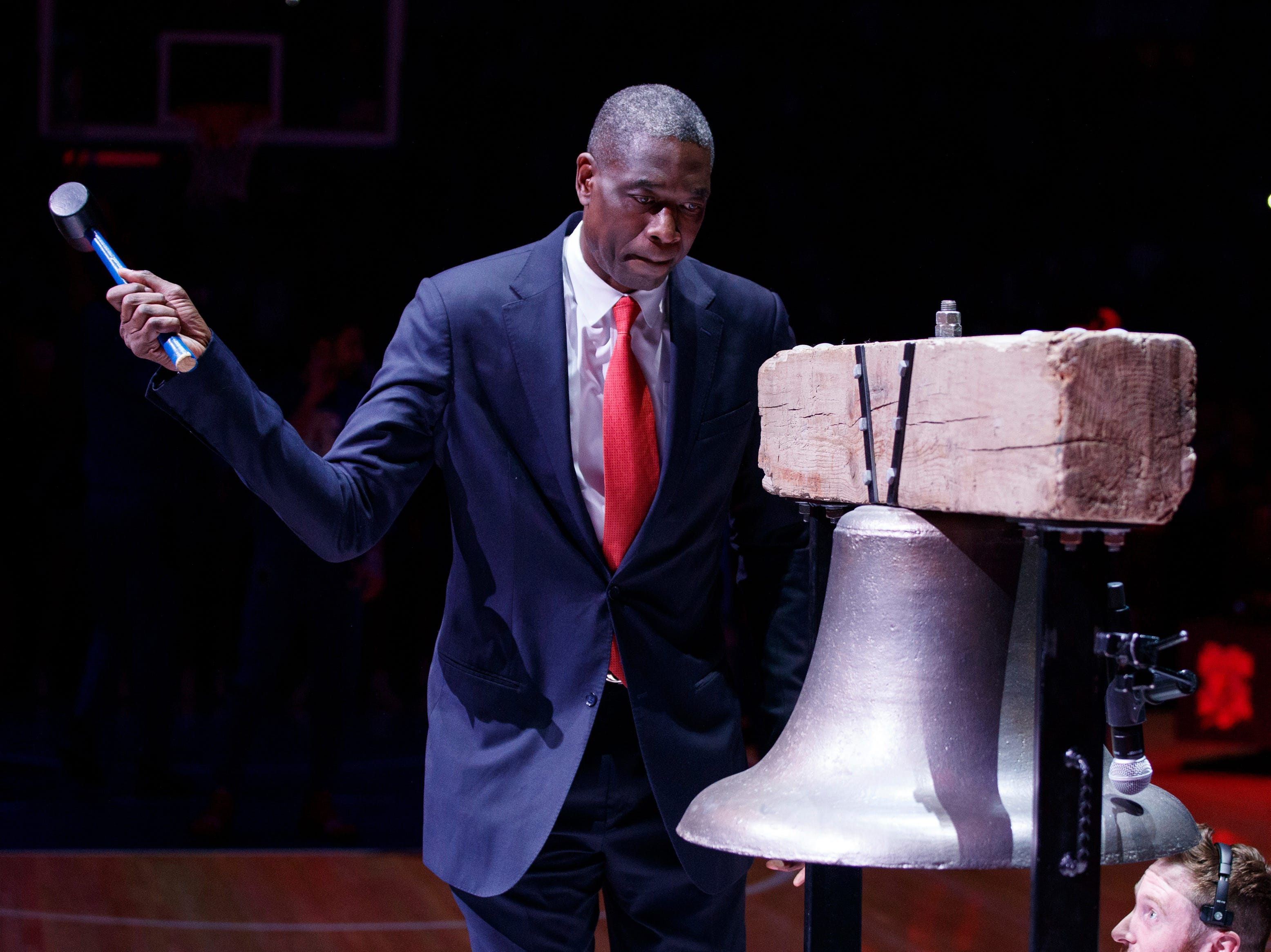 April 15: Hall of Famer Dikembe Mutombo comes out to ring the bell prior to the first half of Game 2 between the 76ers and Nets in Philadelphia.