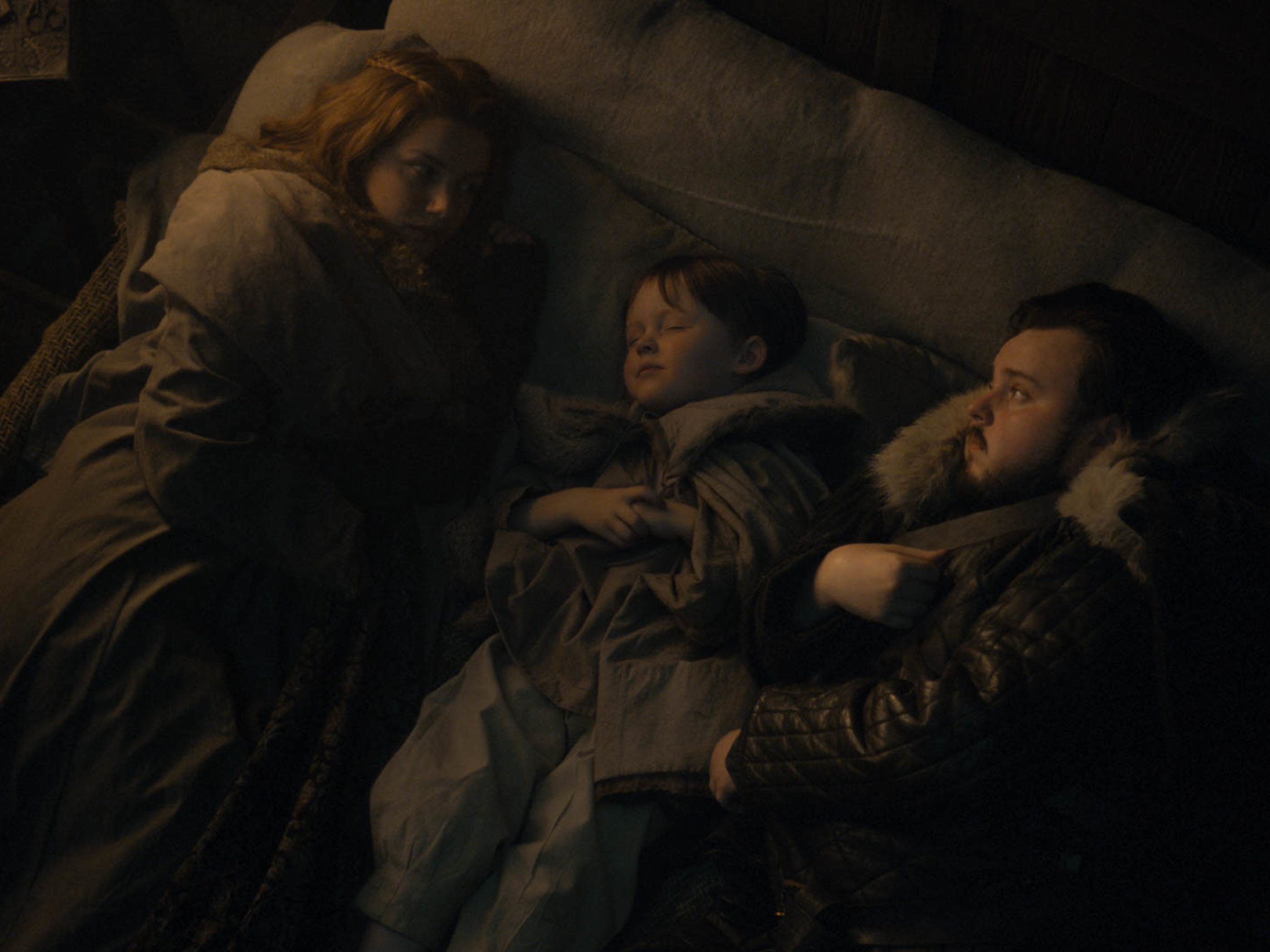 "Hannah Murray as Gilly and John Bradley as Sam on ""Game of Thrones."""