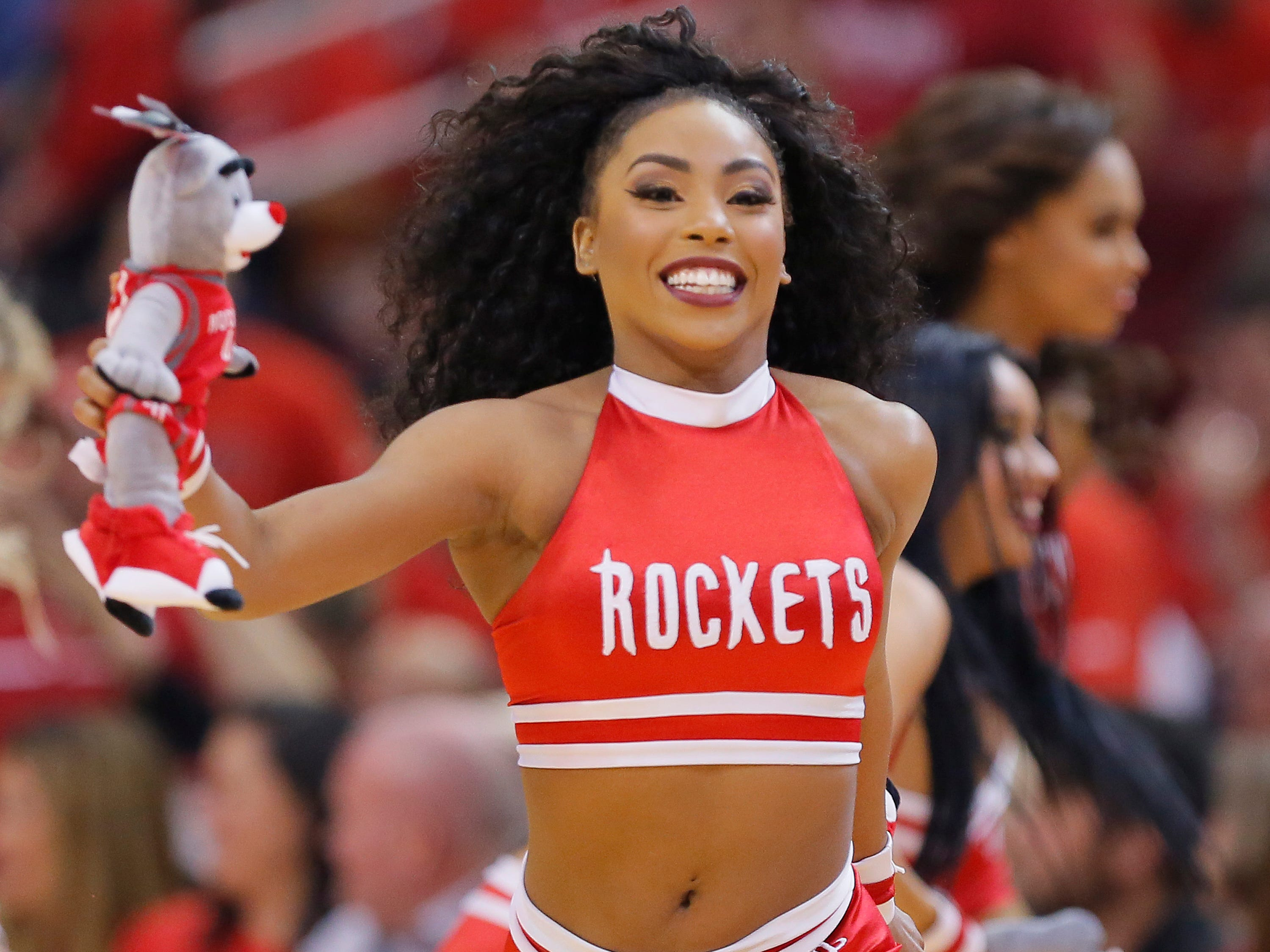 April 14: Rockets dancers perform during Game 1 against the Jazz.