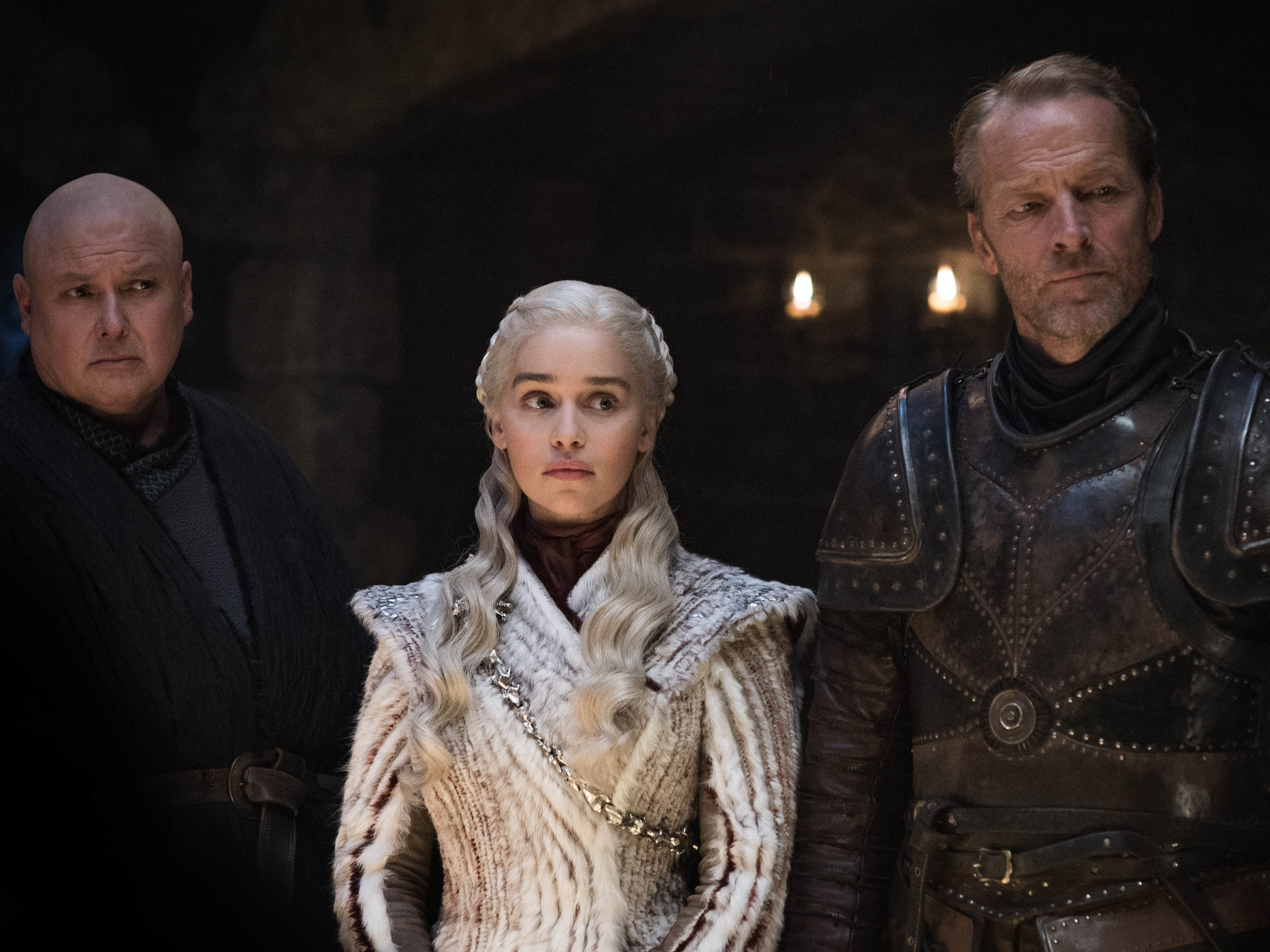 "Conleth Hill as Varys, Emilia Clarke as Daenerys and Iain Glen as Jorah on ""Game of Thrones."""