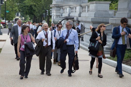 Volunteers with Citizens Climate Lobby, an international non-profit that trains and supports volunteers to build relationships with their elected officials in order to influence climate policy. This is from a group in 2018 heading to Capitol Hill in Washington D.C. to lobby their state senators and representatives.