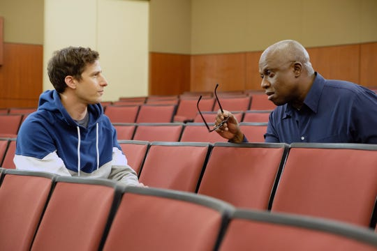 "In Thursday's ""Brooklyn Nine-Nine,"" Detective Jake Peralta (Andy Samberg), left, and Captain Ray Holt (Andre Braugher) investigate a case at the university where Holt's husband teaches, causing the captain to reflect on his relationship."