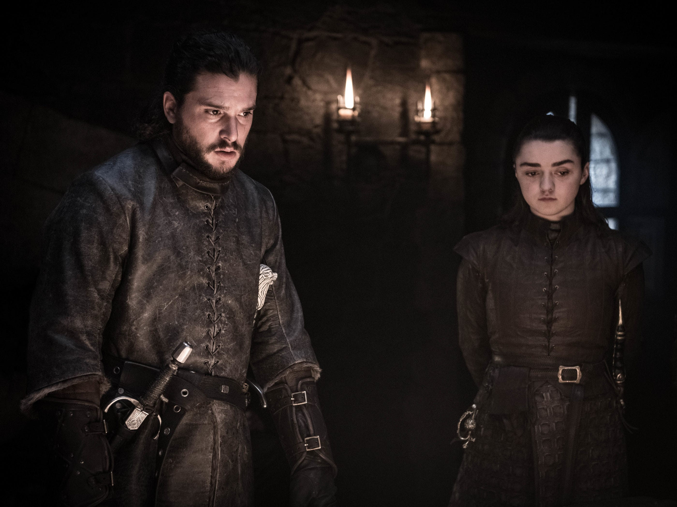 "Kit Harington as Jon Snow and Maisie Williams as Arya Stark on ""Game of Thrones."""
