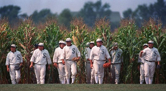 These men portray the ghost player characters from 'Field of Dreams' on the Dyersville, Iowa, cornfield diamond that was central to the 1989 film.
