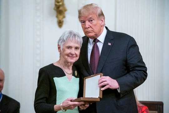 President Donald Trump awards the Presidential Medal of Freedom to Maureen Scalia, the widow of former Supreme Court Justice Antonin Scaliain the East Room of the White House Nov. 16, 2018. The medal is the nation's highest civilian honor, and awarded at the discretion of the President.