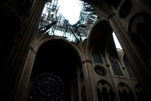 Roof damage as seen from inside the cathedral.
