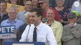 Presidential candidate Pete Buttigieg responds to anti-gay hecklers at a rally in Iowa.