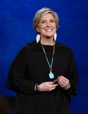 """Brené Brown during her Netflix special, """"The Call to Courage"""""""