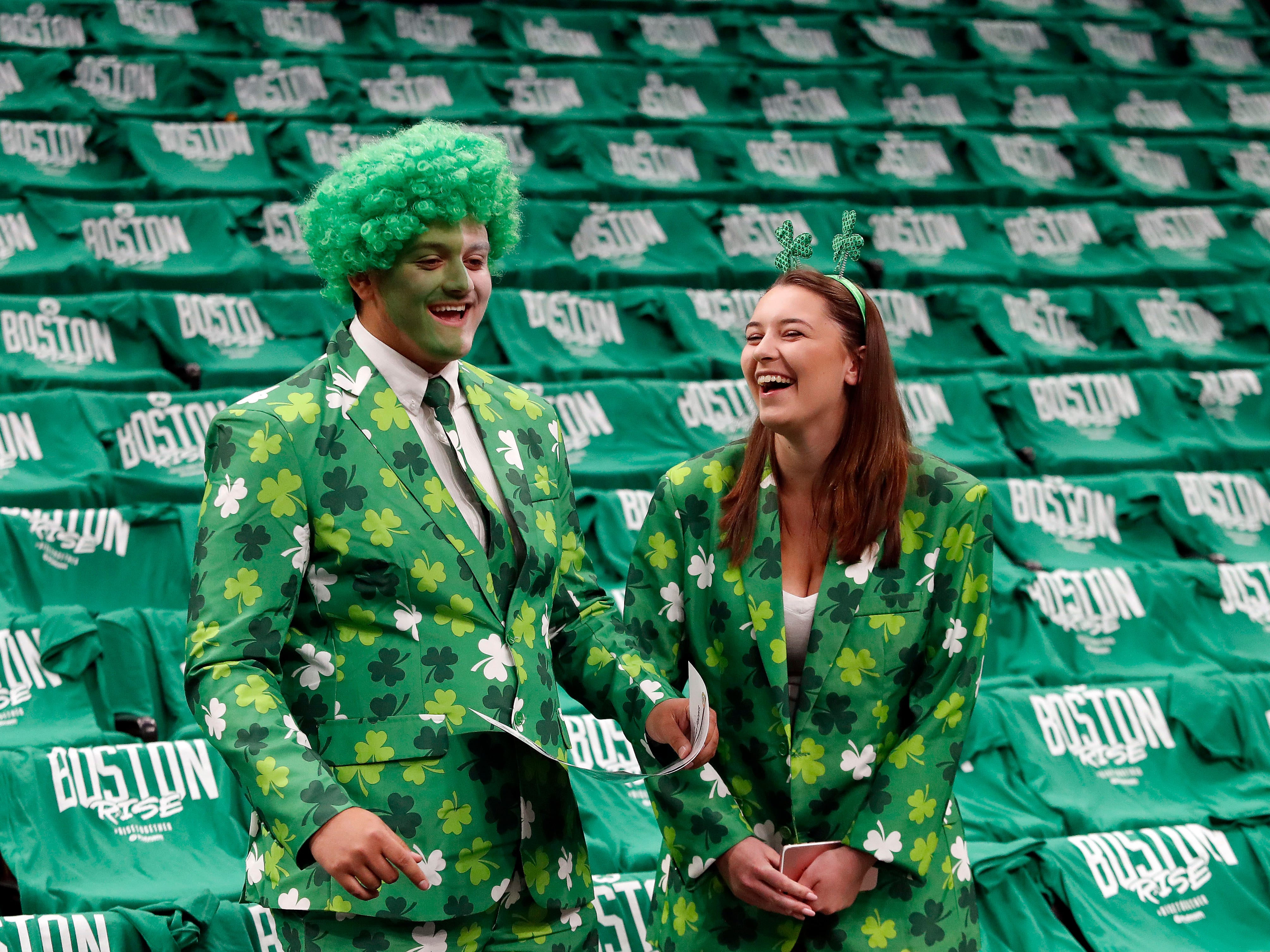 April 14: Celtics fans wait for the start of Game 1 against the Pacers.