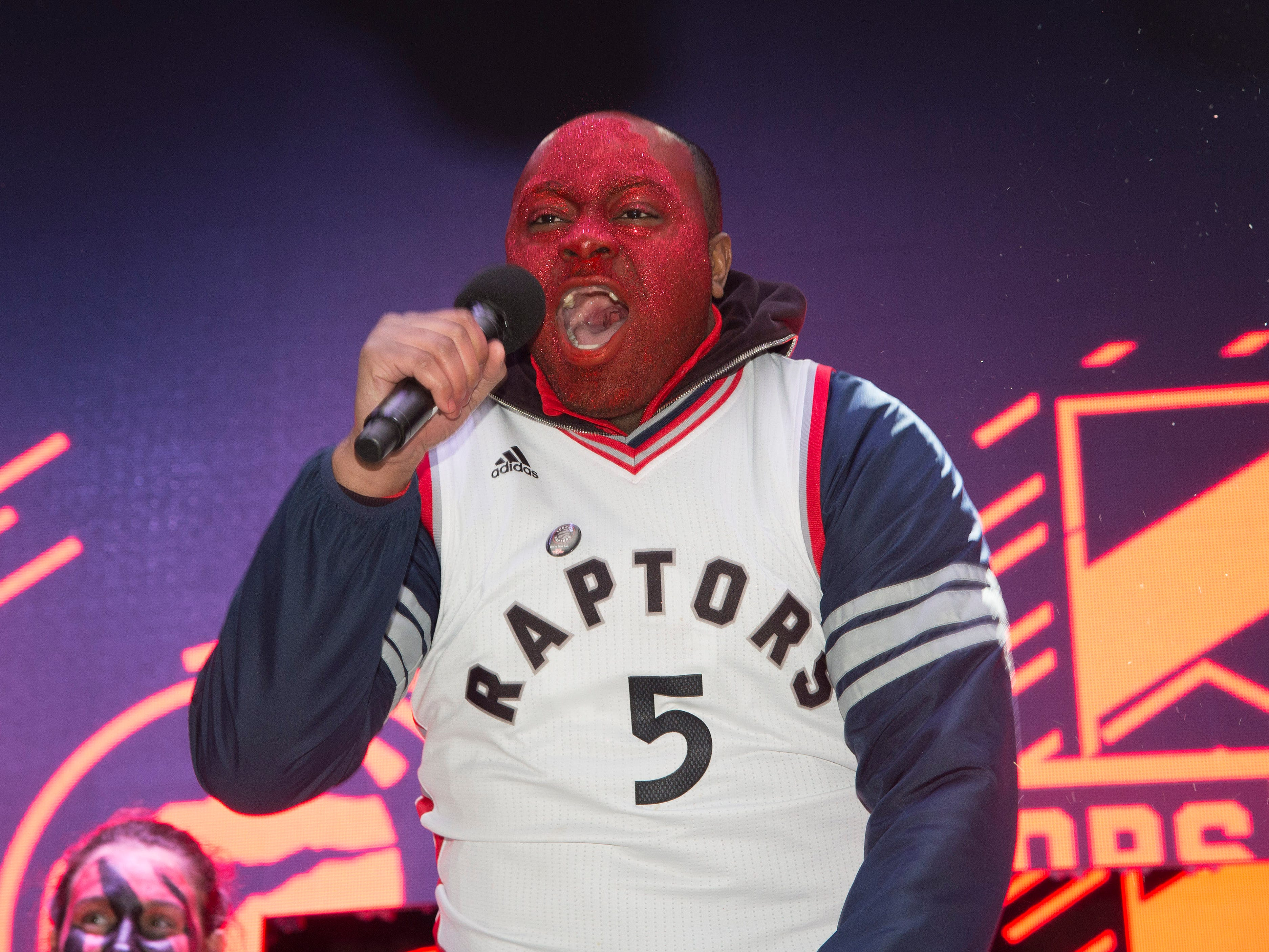 April 16: A Raptors fan shows his support before Game 2 against the Magic.